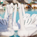 David Shrigley Ridiculous Inflatable Swan Things in Pool