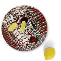 Yayoi Kusama Women Wait For Love, But Men Always Walk Away Ceramic Plate with Lemon