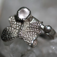 Zora Bell Boyd Chirpy Bow Ring - Rose Quartz and Recycled Silver crop