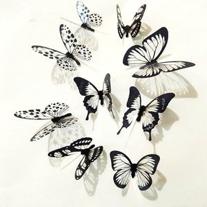 Butterfly 3D Sticker Art Wall Home Decoration(36 Pcs Set), Black & White