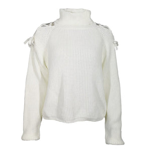 Criss Cross Shoulder Chunky Sweater, White