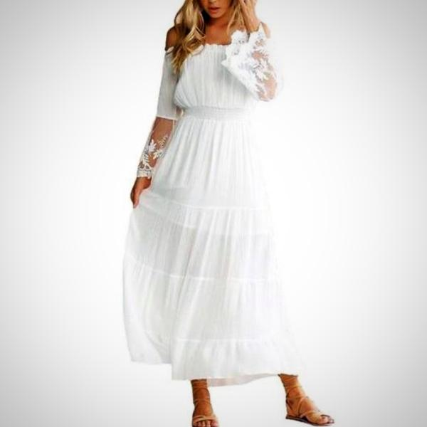 Look chic and relaxed in the summertime with this white Bardot Chiffon Beach Dress.