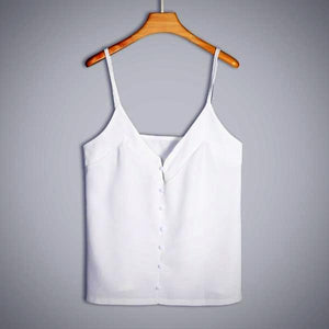 Button Chiffon Camisole Top, White