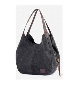 Canvas Slouch Shoulder Bag, Black