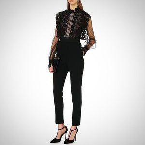 Try this Chic Embroidery & Lace Jumpsuit at your next black tie event.