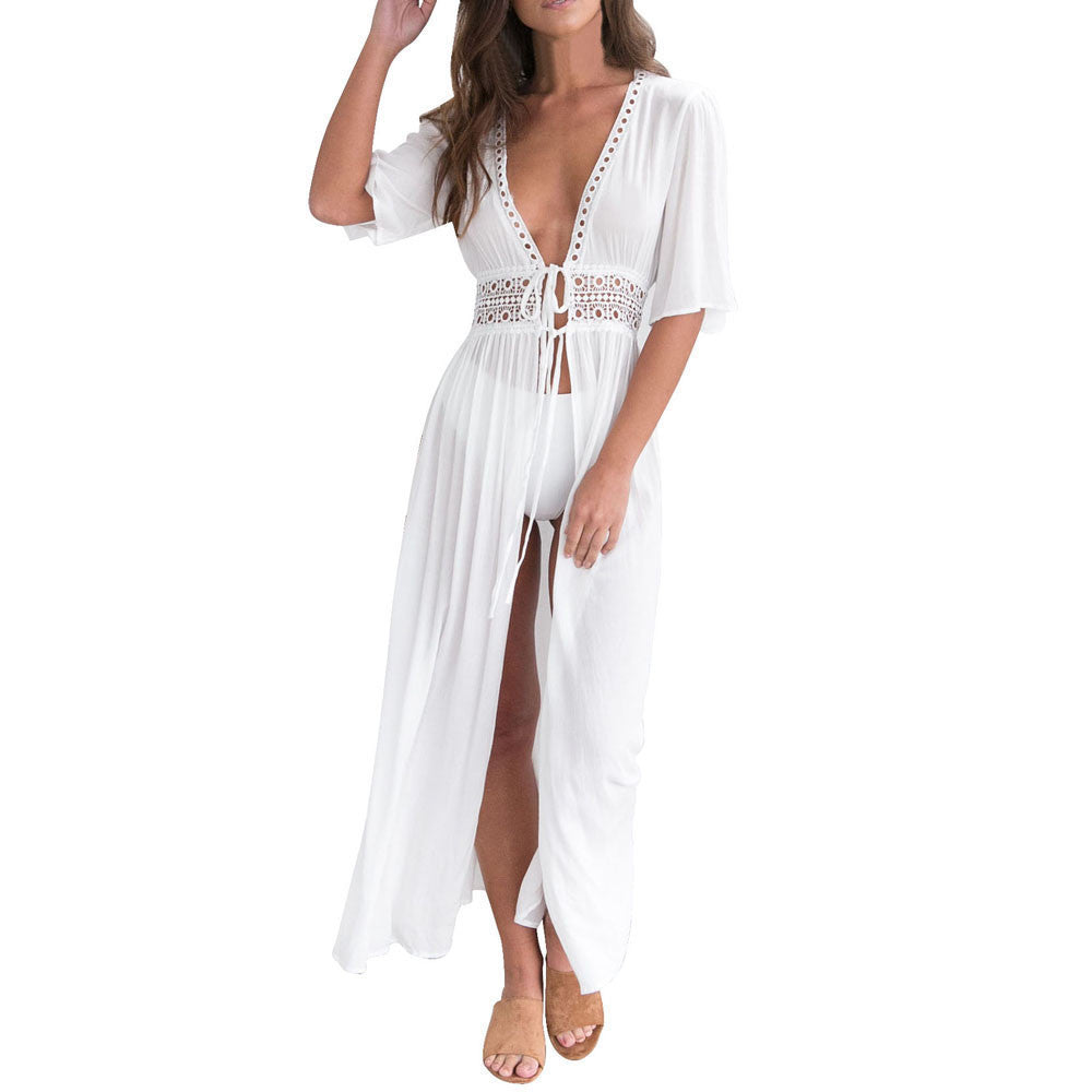Chiffon Tie Front Cover Up, White