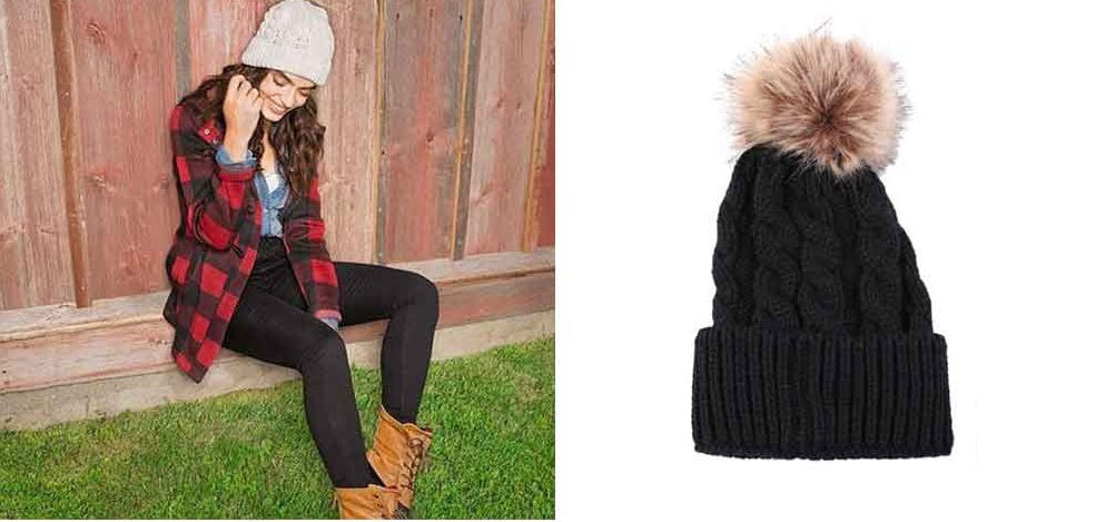 Black White Outfit_Chunky Cable Knit Pom Pom Wool Beanie Hat, Black