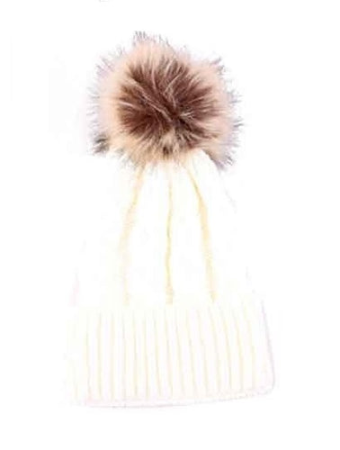 Black White Outfit_Chunky Cable Knit Pom Pom Wool Beanie Hat, White