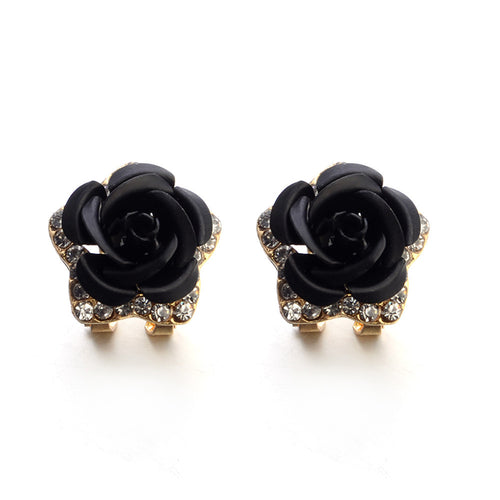 Fashionable Bohemian Flower Rhinestone Stud Earrings For Women, Black