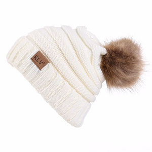 Faux Fur Pom Pom Wool Beanie Hat, White_Black White Outfit
