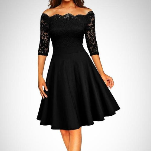 For a gorgeous style for your next special occasion choose this Floral Lace Off Shoulder Swing Dress.