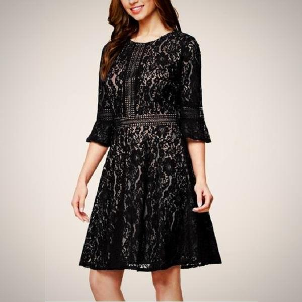 Give attention to detail with this Floral Lace Overlay Swing Dress in black.