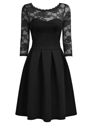 Carve a sophisticated look at your events in this Floral Lace Pleated Cocktail Dress.