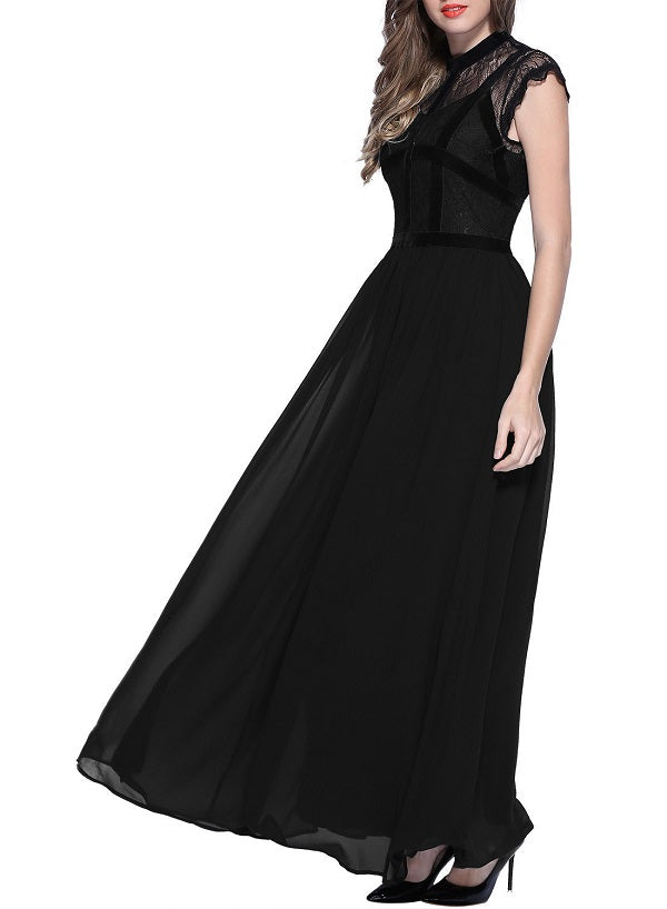 Make those special events unforgettable with this Floral Lace Royal Style Maxi Dress, Black