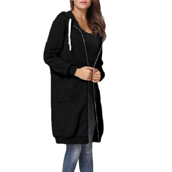 Snuggle up warm and stay cosy with this Pocket Full Zip Long Hoodie in black.
