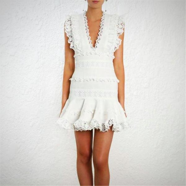 Enjoy the sunny days and opt for pretty and delicate in this Frill Floral Lace Summer Mini Dress.