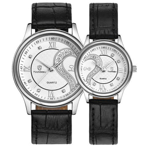 Heart Design Leather Crystal Him/Her Watches Set, White