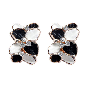 Luxury Floral Alloy Drop Earrings, Black & White