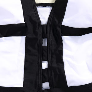 Monochrome Bold Contrast Swimsuit, Black & White