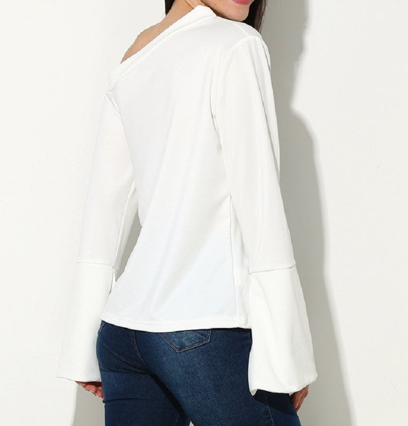 One Shoulder Flared Sleeve Top, White