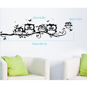 Owl & Butterfly Wall Sticker Home Decor, Black