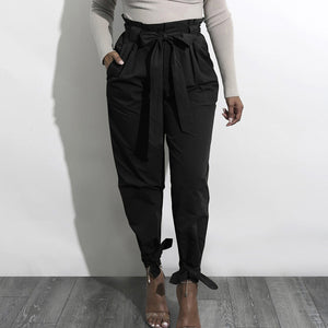Paper Bag Tapered Leg Pants & Belt, Black