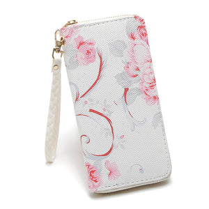 Pink Rose Zip Around Purse, White