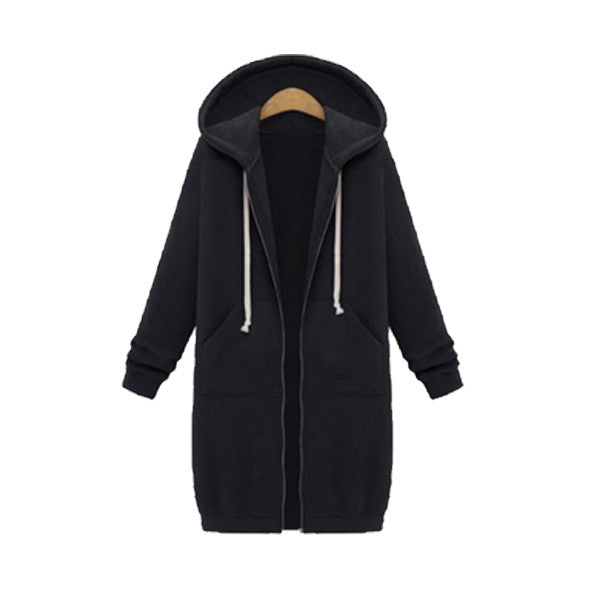 Pocket Full Zip Long Hoodie, Black