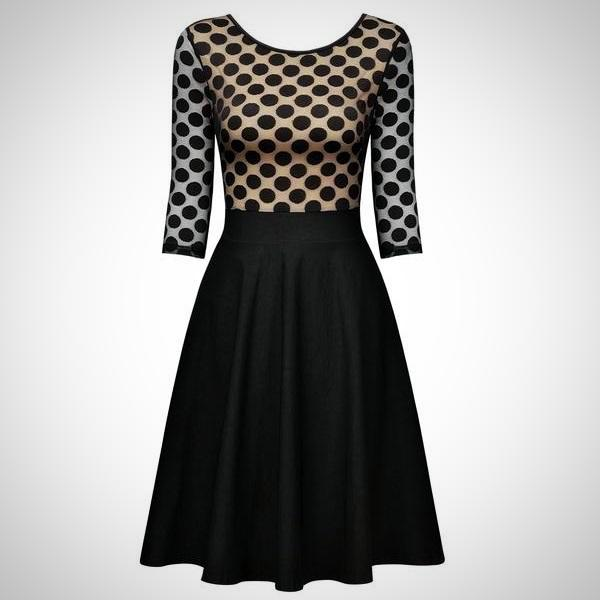 Opt for an elegant silhouette in the Polka Dot Casual Swing Dress.