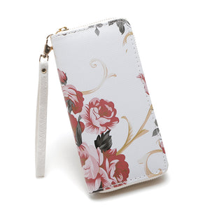 Red Rose Zip Around Purse, White