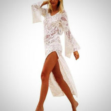 Side Split Lace Beach Dress, White