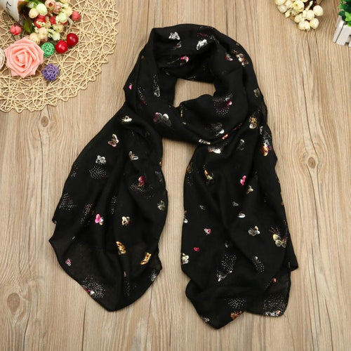 Women's Butterfly Print Cotton Scarf, Black