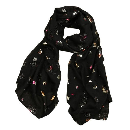 Women's Butterfly Print Cotton Scarf, Black3