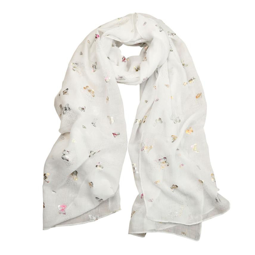Women's Butterfly Print Cotton Scarf, White