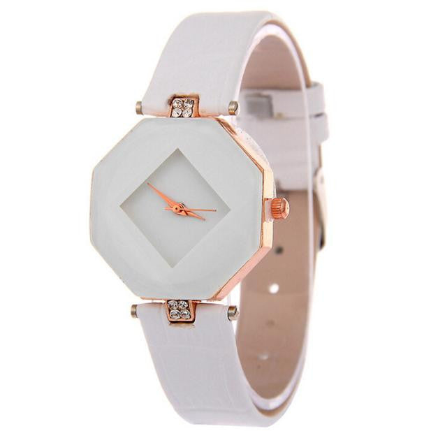 Women's Chic Rhombus Wrist Watch With Rhinestone Decor, Black or White