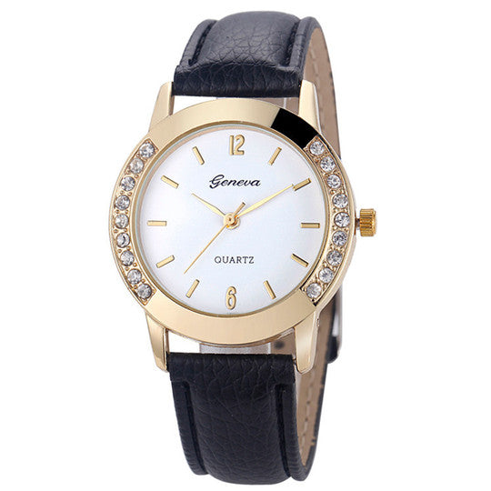 Women's Crystal Leather Watch, Black