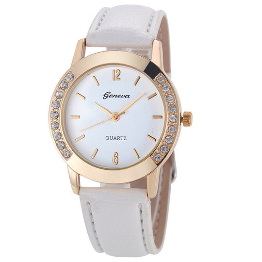 Accessorize with this darling Women's Crystal Leather Watch.