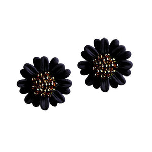 Women's Fashionable and Elegant Daisy Flower Stud Earring, Black
