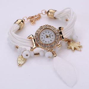 Women's Feather Weave Wrap Around Bracelet Watch, White