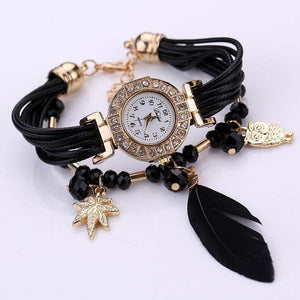 Women's Feather Weave Wrap Around Bracelet Watch, Black