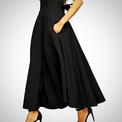 Women's High Waist Flared Maxi Skirt, Black