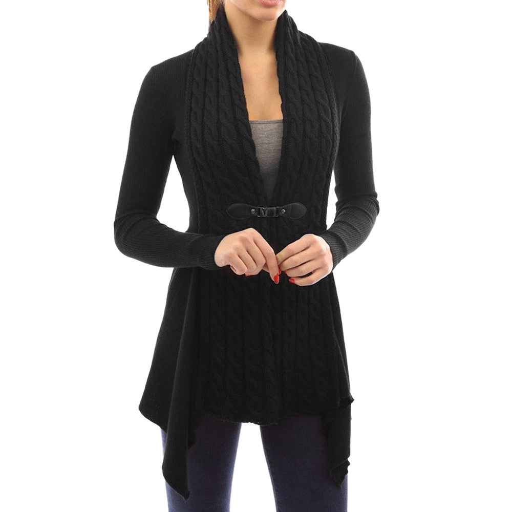 Women's Knitted Trim Cardigan, Black