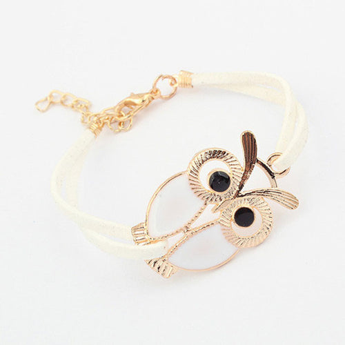 Women's Nice Designed Owl Decoration Leather Bracelet, Black or White