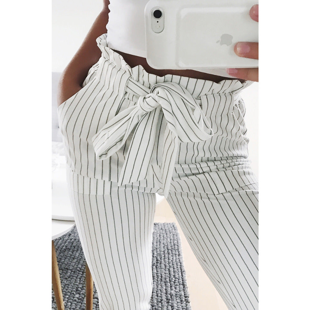 aebec47a14485 Women's Striped Paper Bag Pants, White – Black White Outfit