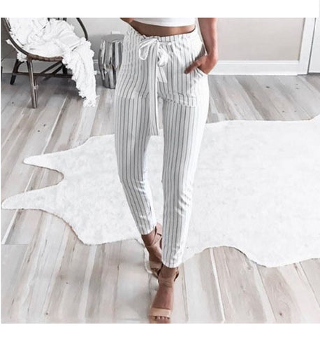 Women's Striped Paper Bag Pants, White