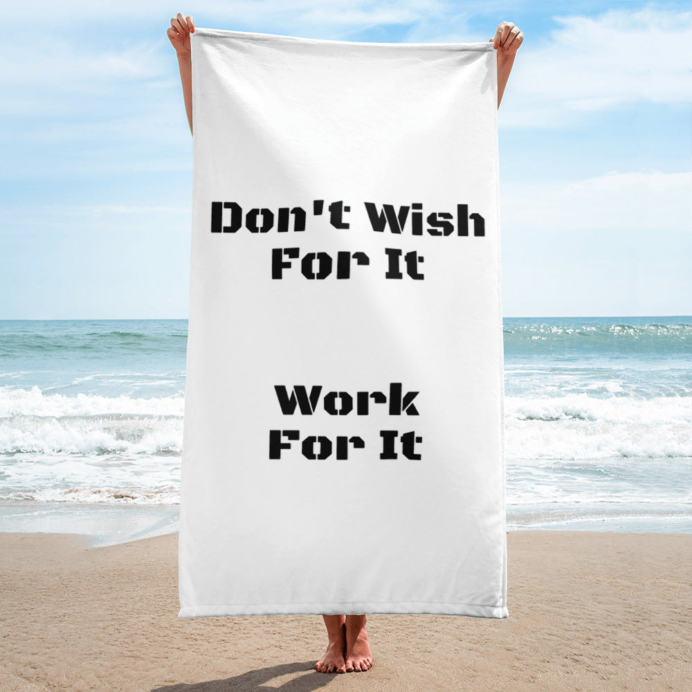One Side Printed Towel, White