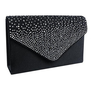 Stylish Satin Clutch Bag, Black