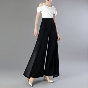 Update your evening outfit with these Elegant Chiffon Layered Trousers, Black.