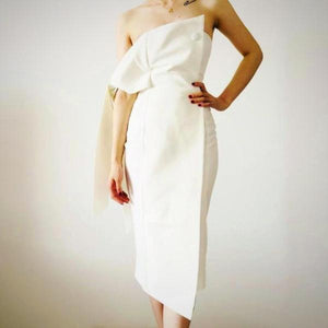 Carve a sleek silhouette on special occasions with this Wrap Crepe Bandeau Party Dress, White.