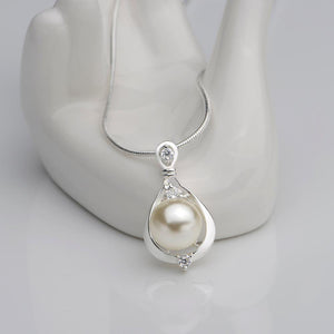 Pearl Necklace 18K White Gold Plated